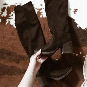 Shoes - Over the Knee Suede Boots